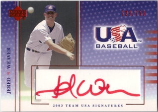 2003 USA Baseball National Team Signatures Red #6 Jered Weaver