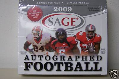 1 SEALED PACK : 2009 Sage Autographed Football Factory Sealed Pack (1 Autographed Card in EVERY Pack) (Possible Michael Crabtree, Matthew Stafford, Mark Sanchez, Beanie Wells & more) 