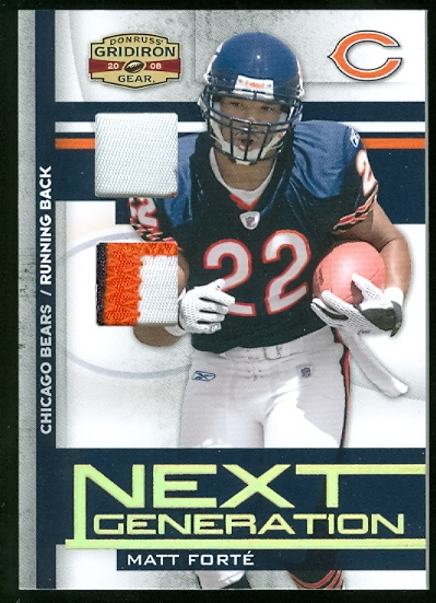 2008 Donruss Gridiron Gear Next Generation Jerseys Combos Prime #26 Matt Forte
