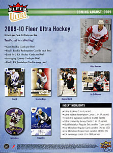 2009 - 10 ( 2010 ) Fleer Ultra Hockey Factory Sealed HOBBY Box With 2 Memorabilia Cards & 1 Rookie Redemption Card & 3 EX Insert Cards Per Box On Avg. - In Stock Now