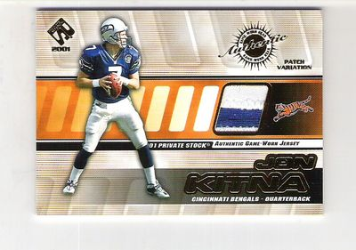 2001 Private Stock Game Worn Gear Patch #32 Jon Kitna/175