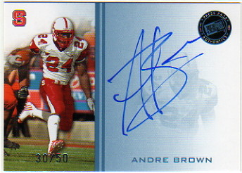 2009 Press Pass Autographs Blue #AB Andre Brown/50