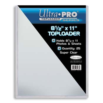 Pack of (25) Ultra Pro Premium 8.5x11 Top Loaders