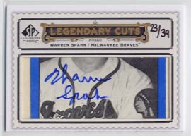 2009 SP Legendary Cuts Legendary Cut Signatures #LC300 Warren Spahn/39