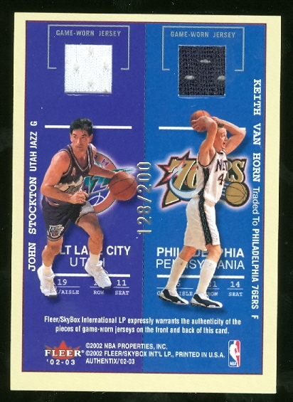 2002-03 Fleer Authentix Ticket for Four #10 Shareef Abdur Rahim/Vince Carter/John Stockton/Keith Van Horn