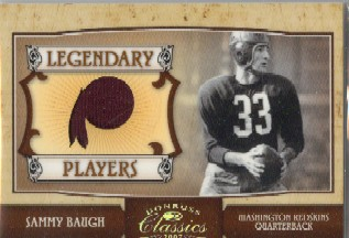 2007 Donruss Classics Legendary Players Jerseys Team Logo #21 Sammy Baugh/33