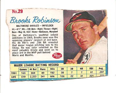 1962 Post #29 Brooks Robinson