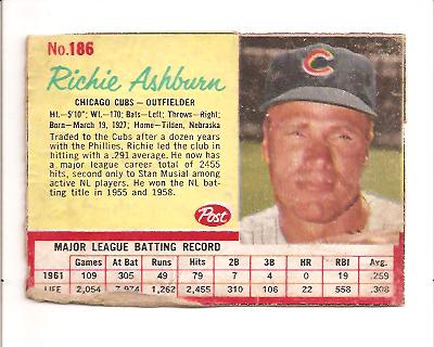 1962 Post #186 Richie Ashburn