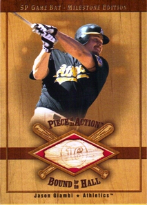 2001 SP Game Bat Milestone Piece of Action Bound for the Hall #BJG Jason Giambi