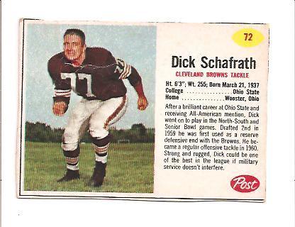 1962 Post Cereal #72 Dick Schafrath