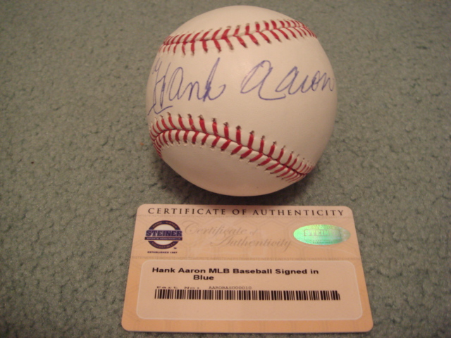 Hank Aaron Autographed Official MLB Baseball With Steiner COA