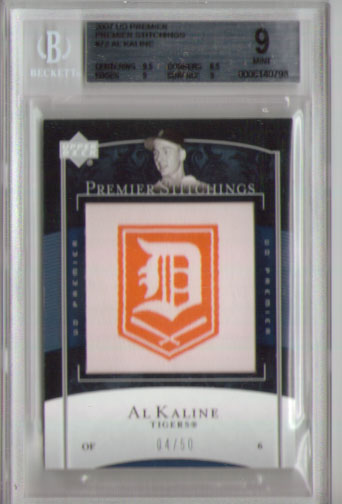 2007 Upper Deck Premier Stitchings #72  Al Kaline BGS  9.0 #04/50!!