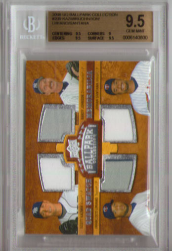 2008 Upper Deck Ballpark Collection #209 Kazmir/Unit/Liriano/Johan Santana BGS  9.5 Quad JERSEYS!!