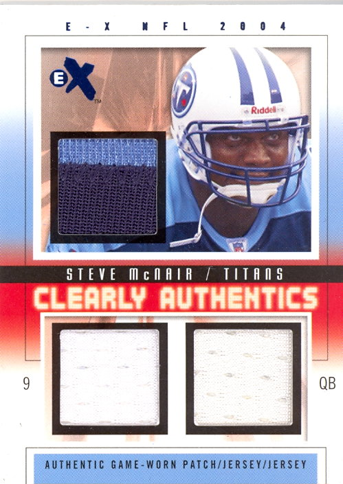 2004 E-X Clearly Authentics Triple Swatch Blue #CASM Steve McNair