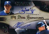 2007 Exquisite Collection Rookie Signatures Dual Signatures Gold #HH Justin Hampson/Chase Headley/25