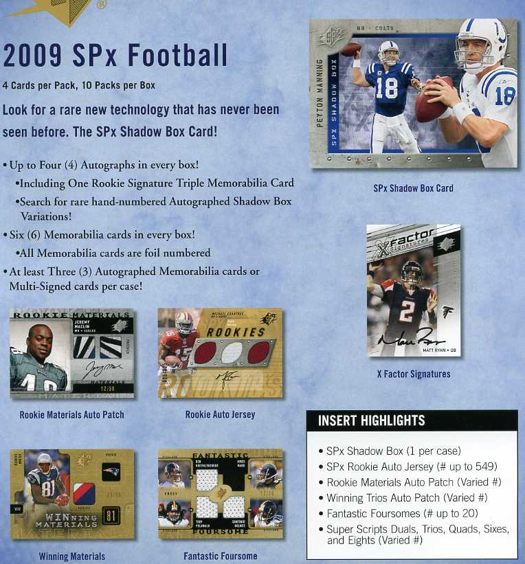 2009 Upper Deck SPX Football Factory Hobby Box - Total Of 10 AUTOGRAPH Or MEMORABILIA Cards Per Box - Possible Mark Sanchez Peyton Manning Adrian Peterson Brett Favre - In Stock   front image