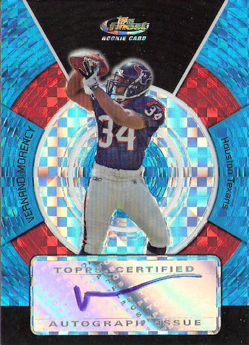 2005 Finest Blue Xfractors #183 Vernand Morency AU