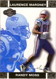 2007 Topps Co-Signers Changing Faces Gold Blue #30A Randy Moss/Laurence Maroney