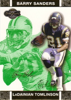 2007 Topps Co-Signers Changing Faces Gold Green #12A LaDainian Tomlinson/Barry Sanders