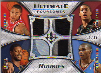 2008-09 Ultimate Collection Patches Foursome Rookies #UFR1234 Derrick Rose/Michael Beasley/O.J. Mayo/Russell Westbrook