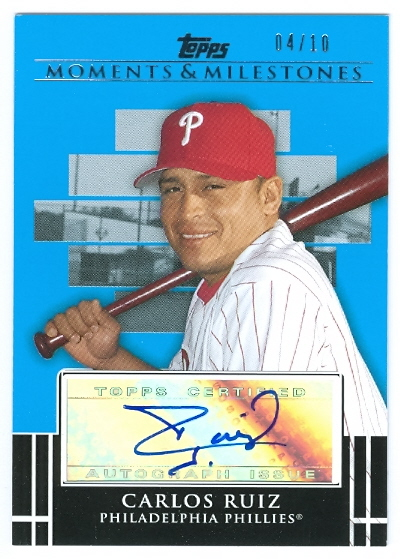 2008 Topps Moments and Milestones Milestone Autographs Blue #CR Carlos Ruiz