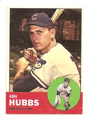 1963 Topps #15 Ken Hubbs UER (No Position Listed on Front of card)