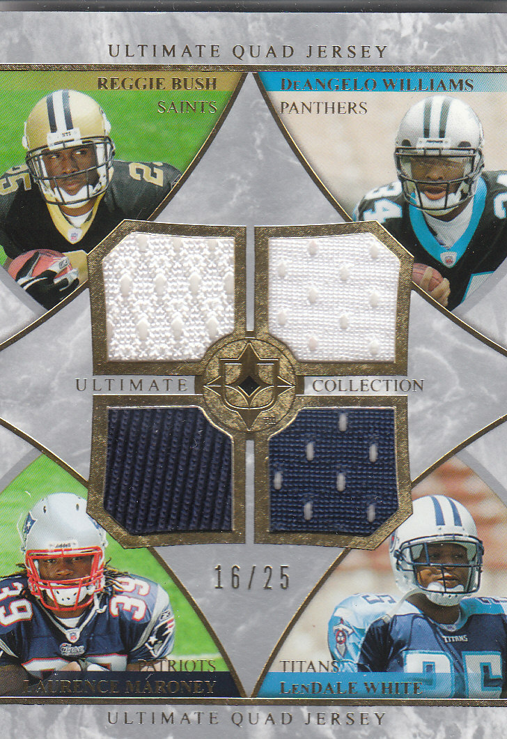 2006 Ultimate Collection Jerseys Quad #BMWW Reggie Bush/Laurence Maroney/DeAngelo Williams/LenDale White