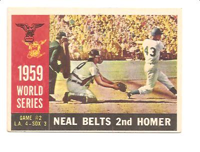 1960 Topps #386 World Series Game 2/Charlie Neal/Belts Second Homer