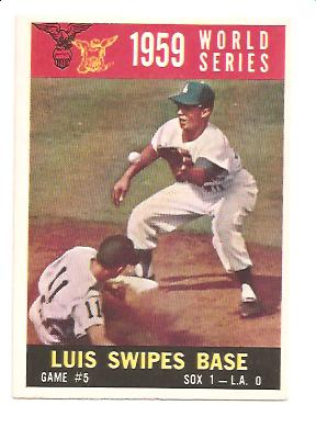 1960 Topps #389 World Series Game 5/Aparicio Steals Base/w/Maury Wills front image