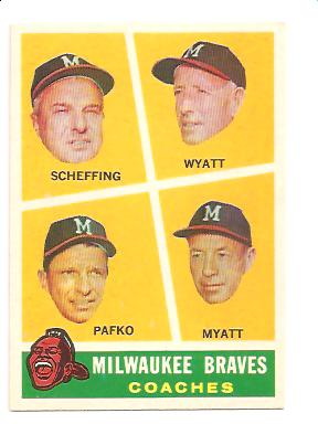 1960 Topps #464 Braves Coaches/Bob Scheffing/Whitlow Wyatt/Andy Pafko/George Myatt