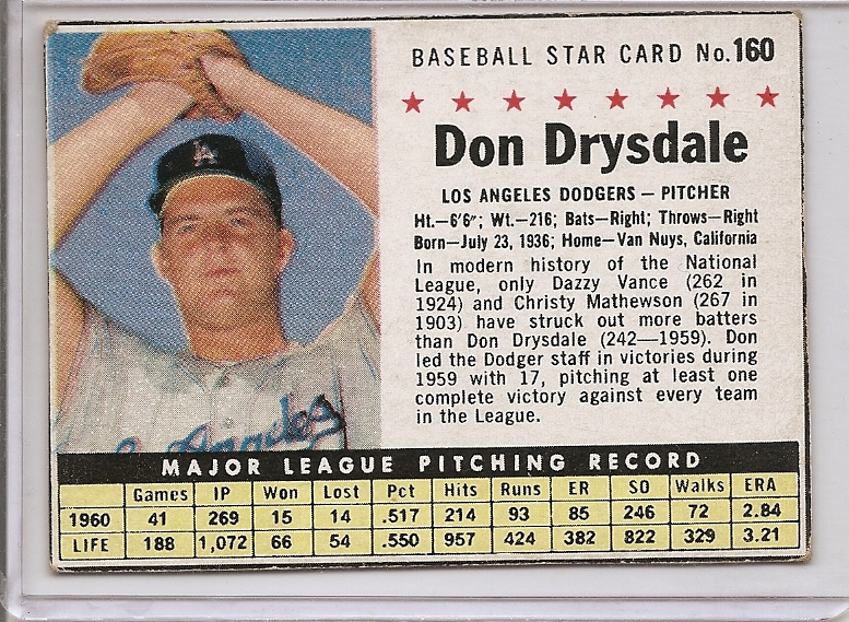 1961 Post #160B Don Drysdale BOX