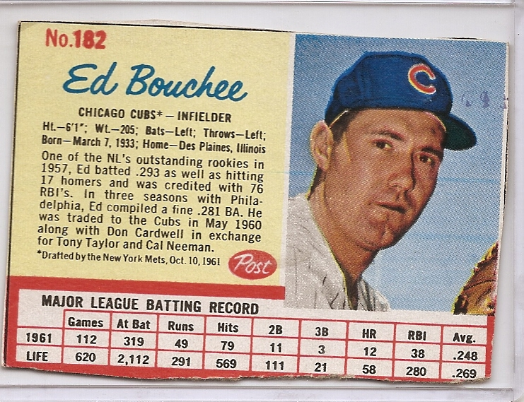 1962 Post #182 Ed Bouchee