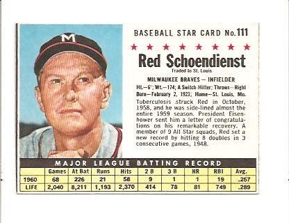 1961 Post #111 Red Schoendienst BOX only front image