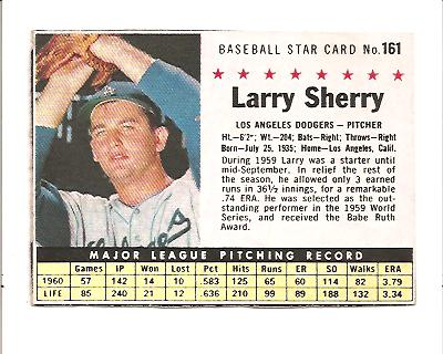 1961 Post #161B Larry Sherry BOX