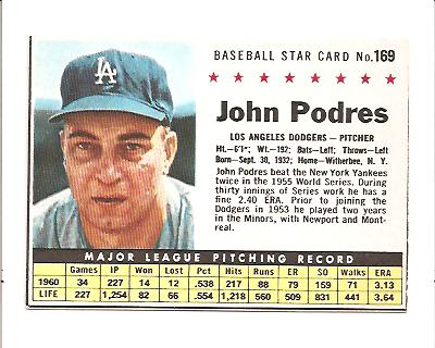 1961 Post #169 John Podres BOX only