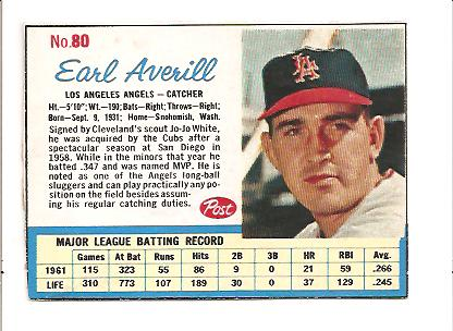1962 Post #80 Earl Averill