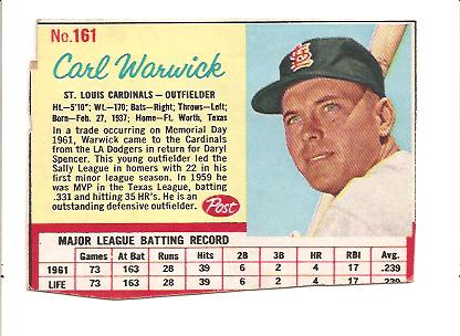 1962 Post #161 Carl Warwick