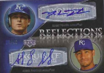 2007 Exquisite Collection Rookie Signatures Reflections Autographs #TS Mark Teahen/Angel Sanchez/40