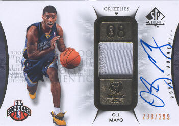 2008-09 SP Authentic #127 O.J. Mayo JSY AU/299 RC