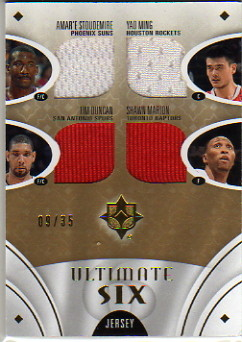 2008-09 Ultimate Collection Jerseys Six #US05AS Yao Ming/Amare Stoudemire/Manu Ginobili/Tim Duncan/Shawn Marion/Rashard Lewis
