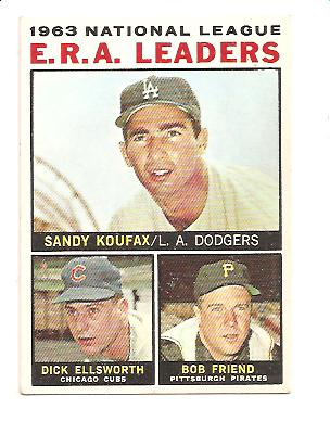 1964 Topps #1 NL ERA Leaders/Sandy Koufax/Dick Ellsworth/Bob Friend front image