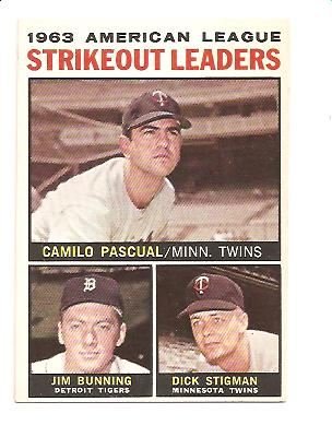 1964 Topps #6 AL Strikeout Leaders/Camilo Pascual/Jim Bunning/Dick Stigman
