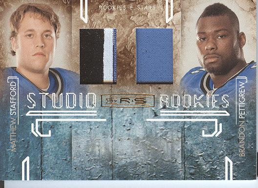 2009 Donruss Rookies and Stars Studio Rookies Combos Materials Prime #4 Matthew Stafford/Brandon Pettigrew