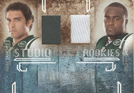 2009 Donruss Rookies and Stars Studio Rookies Combos Materials #6 Mark Sanchez/Shonn Greene