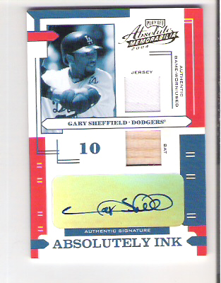 2004 Absolute Memorabilia Absolutely Ink Combo Material #53 G.Sheffield Bat-Jsy/50