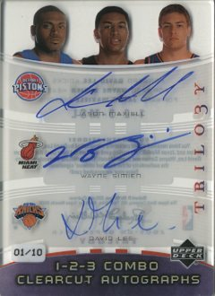 2005-06 Upper Deck Trilogy One Two Three Combo Clearcut Autographs #MSL Jason Maxiell/Wayne Simien/David Lee