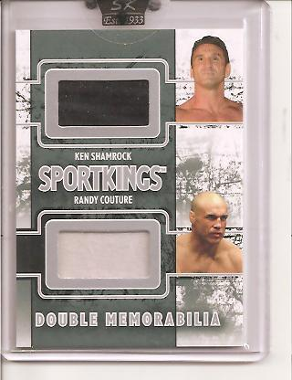 2009 Sportkings Double Memorabilia Silver #8 Ken Shamrock Shirt/19*/Randy Couture Shirt front image