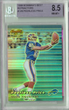 1999 Bowman's Best Football #129 PEERLESS PRICE Atomic Refractor BGS 8.5 Buffalo BILLS BEAUTIFUL!