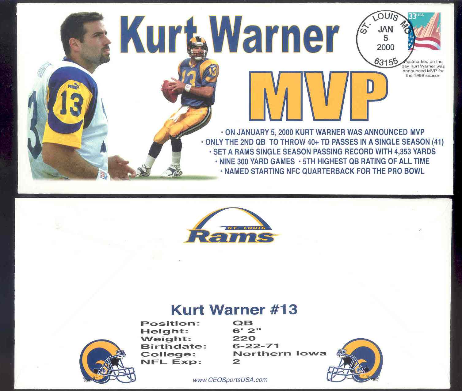 1999-2000 First Day Rookie Cover Kurt Warner Collectible Envelope Postmarked Jan 5 2000 on the Day he was annouced MVP