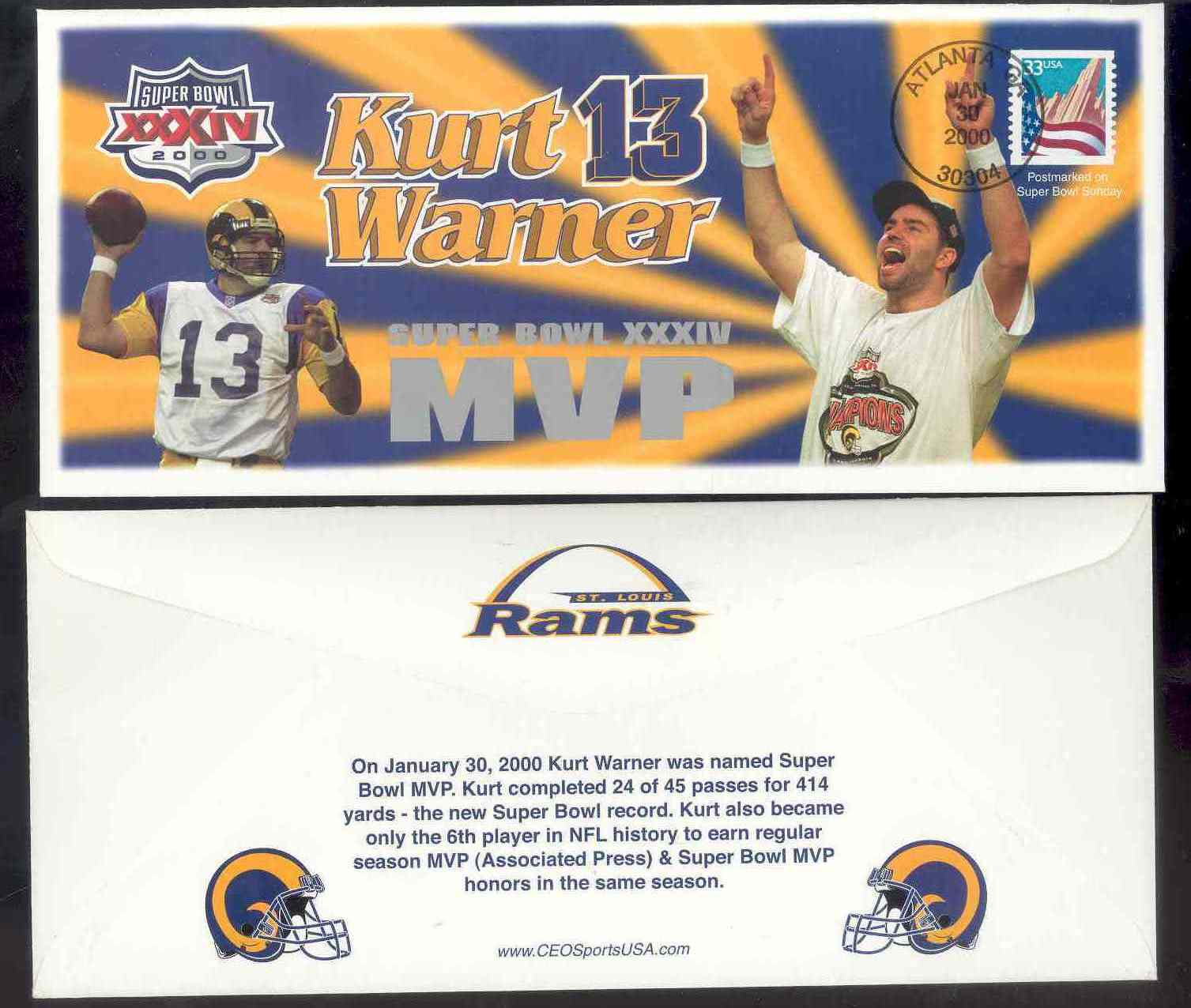 1999-2000 First Day Rookie Cover Kurt Warner Collectible Envelope Postmarked Jan 30 2000 on the Day he was annouced Super Bowl MVP